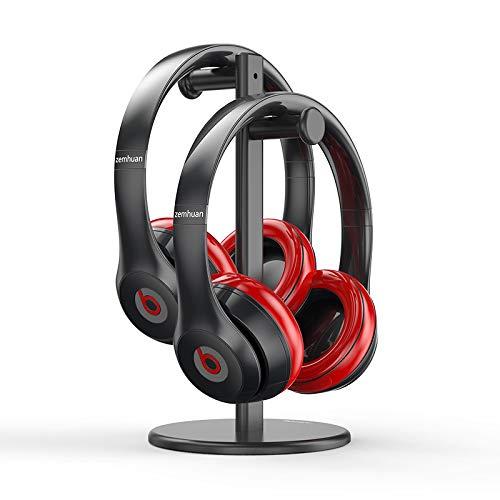 DolDer Soporte doble para auriculares de aleación de aluminio para Sennheiser, Sony, Audio-Technica, Bose, Beats, Akg, Gaming Headphone Display Mount (negro)