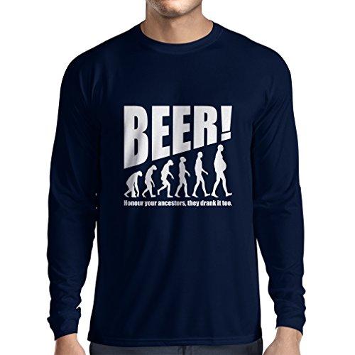 Langarm Herren t Shirts Die Beervolution - einzigartige lustige sarkastische Geschenkideen für Bierliebhaber, trinkende Evolution (Medium Blau Weiß)
