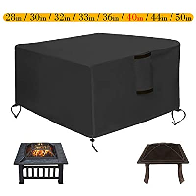 Saking Patio Fire Pit Cover Square 40x40x21 inch - Waterproof Windproof Anti-UV Heavy Duty Gas Firepit Furniture Table Covers