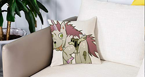 Square Soft and Cozy Pillow Covers,Zombie Decor, Evil Unicorn Devil Face Caterpillar Myth Legend Creature Scary Design Decorative,,Funda para Decorar Sofá Dormitorio Decoración Funda de almohada.