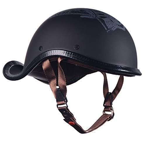 ZLYJ Retro Moto Half Casco, Casco Abierto, Adultos Moto Cascos Helmet Confortable Casco Moto Jet para Street Bike Cruiser Chopper Moped Scooter, ECE Homologado D,XL