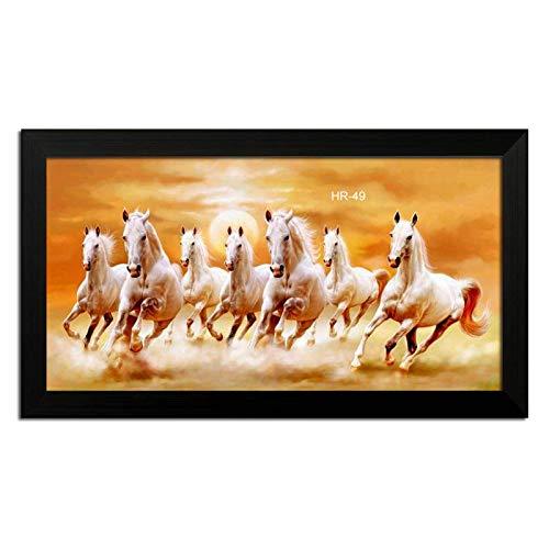LION CRAFT 7 Horse Photo Laminated Frame (Frame Color Black, Print size-12x24 inch) Genuine matterial-NO-09