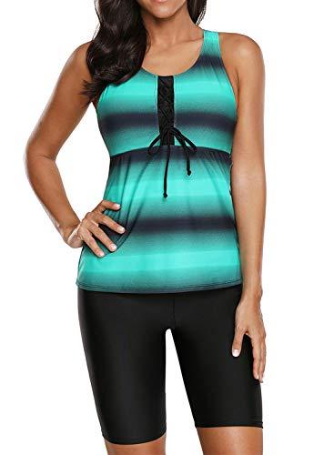 Aleumdr Women's Racerback Color Block Striped Tankini Set with Boyshort Swimsuit Swimwear XL 14 16 Green