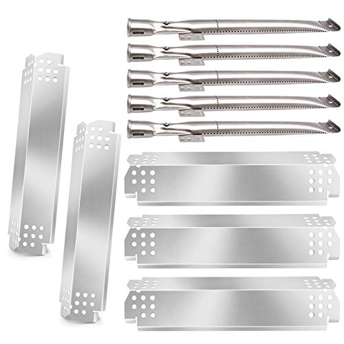 Metal Club Compatible with Grill Parts Kit Home Depot Nexgrill 5 Burner 720-0888 720-0888N, Nexgrill 720-0830H Gas Grills, 5-Pack Stainless Steel Burner Pipe Tubes & Grill Heat Shields Replacement