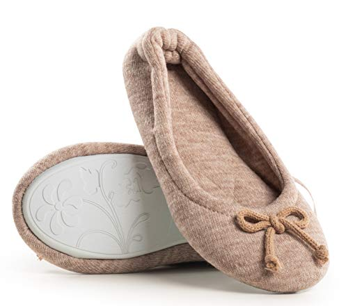 Womens Knitted Cashmere Memory Foam Ballerina Cozy House Slippers (39 EU, Oatmeal)