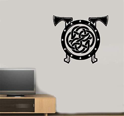 pegatina de pared 3d Escudo vikingo Ejes Celta Patrón Guerrero Escandinavo