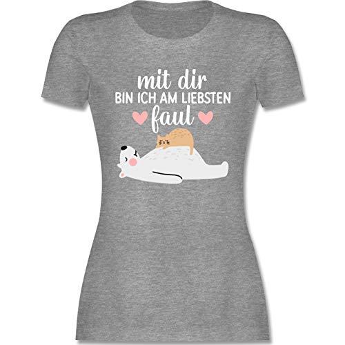 Statement - Mit dir Bin ich am liebsten faul - weiß - S - Grau meliert - Tshirt Frauen mit Druck - L191 - Tailliertes Tshirt für Damen und Frauen T-Shirt