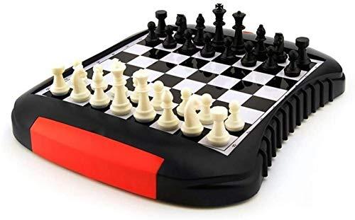 PJPPJH Juego de ajedrez clásico Tablero de ajedrez Plegable portátil Caja de ajedrez para niños y Adultos Juguetes educativos Viajes Juego de Juegos de Tablero de ajedrez Internacional