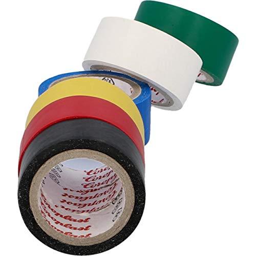 Cartrend 10526 Elektriker Klebeband Farbigen PVC Band Wasserdicht Elektrisches Stück 6 Farben Isolierband Set