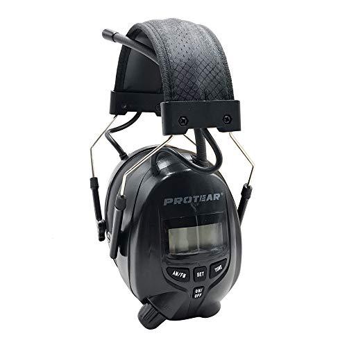 PROTEAR Gehörschutz mit FM/AM Radio,Kompatibel mit Handy und MP3,SNR 30dB, Noise Cancelling Headset für Werkstatt, Sägen, Mähen, BAU