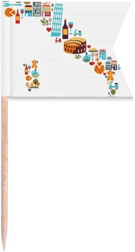 Mapa de Italia bandera nacional personalizada paisaje palillo banderas etiquetado para fiesta pastel comida queso