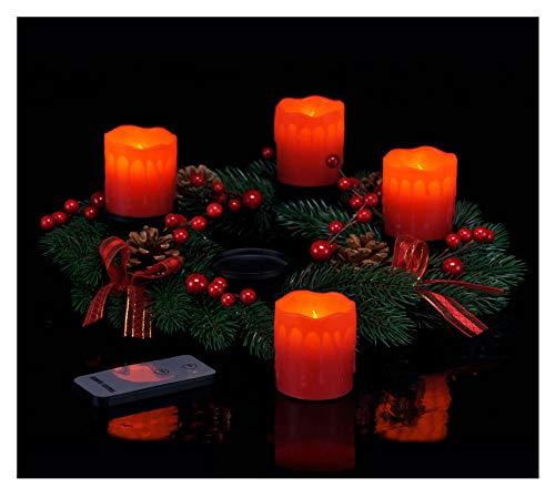 Spetebo Adventskranz mit 4 LED Kerzen und Fernbedienung - roter Weihnachtskranz mit Echtwachskerzen