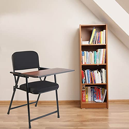 CELLBELL® Folding Study Chair with Cushion & Writing Pad[Black]