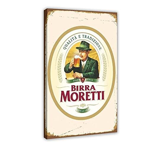 Moretti Billa Bier-Dekoratives Logo auf Leinwand, Wandkunst, Dekoration, Bild, Gemälde für Wohnzimmer, Schlafzimmer, Dekoration, Rahmen, 50 x 75 cm