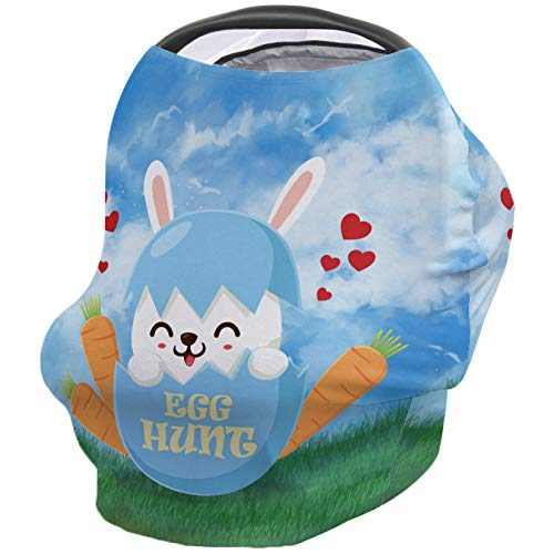 Best Buy! Breastfeeding Nursing Cover Multi Use for Baby Car Seat Easter Bunny, Greeting Spring Fest...