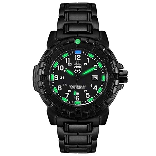 AYDQC Deportes de la Moda de los Hombres Reloj de Cuarzo Exterior Luminoso de múltiples Funciones Ocasional fengong (Color : Green)