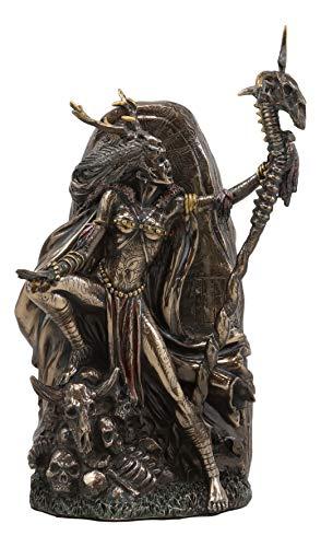 Ebros Gift Avalon Arthurian Kingdom Enchantress Witch Morgan Le Fay Holding A Skeletal Spine Staff by Graveyard of Skulls Statue Decorative Figurine 9.25