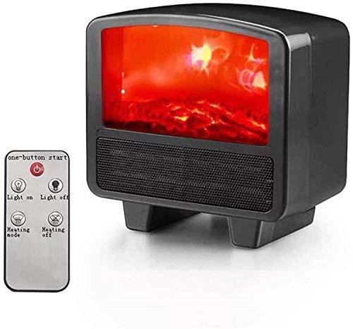 XIANWEI Tragbarer Herd Heizung Mini Elektro-Kamin Lampe LED Flamme Log-Effekt Temperatureinstellung (Color : Black)