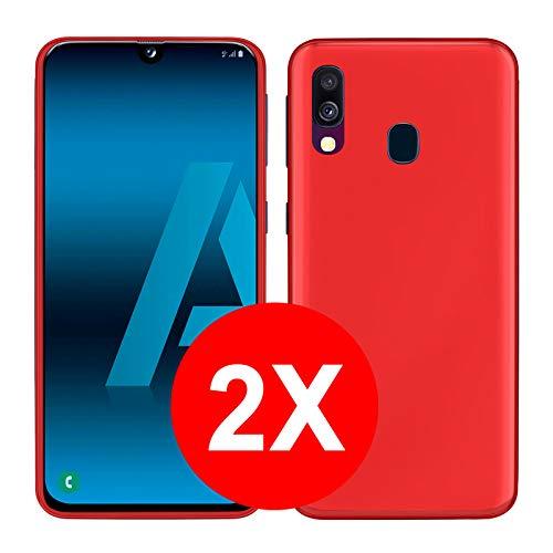 TBOC 2X Funda de Gel TPU Roja para Samsung Galaxy A40 A405FD A405FN [5.9 Pulgadas] [Pack: Dos Unidades] Carcasa Silicona Ultrafina Flexible Teléfono Móvil