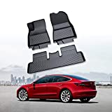 RUIYA Alfombrilla para coche Alfombrilla para coche hecha de materiales TPO, Alfombrilla interior reutilizable Adecuado para 2018+ Tesla model 3, impermeable Lavable antideslizante y flexible【Negro】