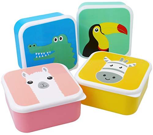 com-four® 4x Fiambrera para niños - Fiambrera colorida para niños con motivos de animales geniales, apto para el lavavajillas (04 piezas - mezclar)