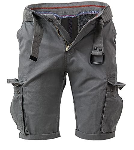 Instinct Bermuda Uomo con Tasche Laterali Cargo Shorts Pantaloni Corti, Pantaloncini Slim Fit Multi-Tasche in Cotone con Cintura Tasconati (48, Grey F-042)