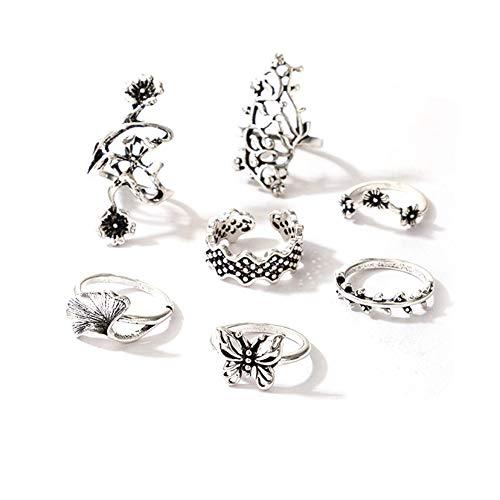 7pcs Boho Flower Butterfly Finger Alloy Knuckle Rings Set for Women Jewelry