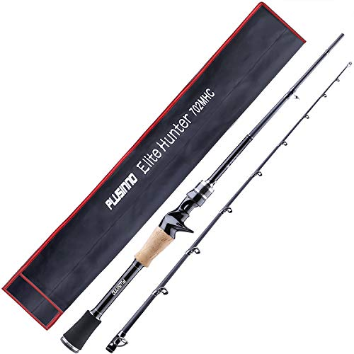 PLUSINNO Elite Hunter Two-Piece Spining Casting Fishing Rod, Graphite Medium Light Fast Action Bass Baitcasting Fishing Rods 7FT 2pc Freshwater Saltwater Fishing Rods-C