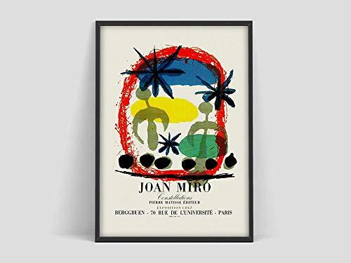 Póster de exposición de arte de Joan Miro, impresión de Galerie Berggruen Paris, impresión de póster de Joan Miro, lienzo sin marco G 50x70cm