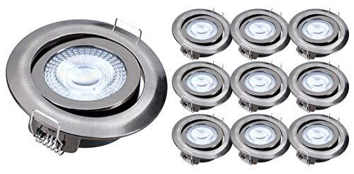 10x Foco LED empotrable luz de techo greenandco® IRC97+ 5W (=28W) 300lm blanco calido, redondo, plano, basculante, sin parpadeo, no regulable, color: níquel cepillado, con caja de conexiones