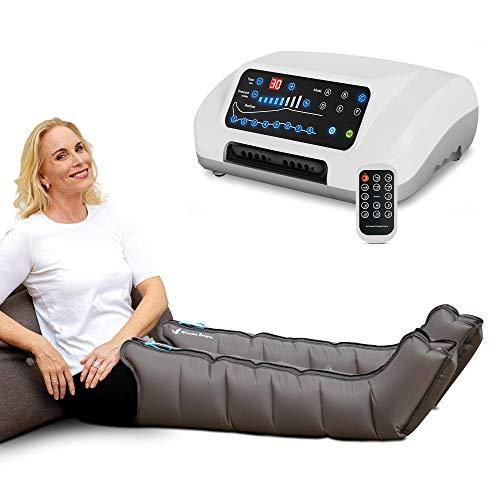 aparato de masajes con botas, 8 cámaras de aire desactivables, presión y tiempo fácilmente configurables, 6 programas de masaje