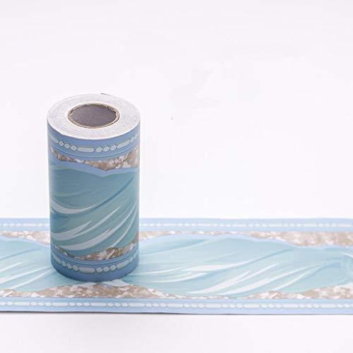 Manyao - Cenefa de papel pintado para pared con bordes de papel pintado - Decoración de pared - Escaleras - Adhesivo de PVC, azul