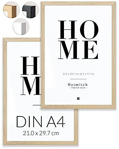 Heimlich Paquete Doble (2 Piezas) Marcos de Madera con plexiglás inastillable - DIN A4 (21x30cm) Roble Natural