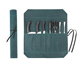 Heavy Duty Waxed Canvas Chef Knife Storage Roll Bag With 7 Slots Waterproof And Durable  Dark Green