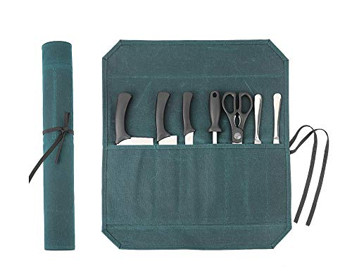 Heavy Duty Waxed Canvas Chef Knife Storage Roll Bag With 7 Slots, Waterproof And Durable (Dark Green)