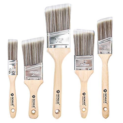 5 Stück Holz Lasurpinselset, Hochwertiger Flachpinsel Malerpinsel Set, Tools Lackpinsel Pinselsatz Streichen für Präzise Malerarbeiten, Lasurpinsel für alle Untergründe (25.4mm/38mm/50.8mm/63.5mm)