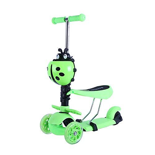 LWPCP Vespa de los niños, Vespa desprendible del Asiento del Triciclo Ajustable para los Muchachos y Las Muchachas 1 a 6 años,Green