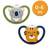NUK Space chupete, en forma de mandíbula, 0-6 meses, silicona, koala y tigre ,,...