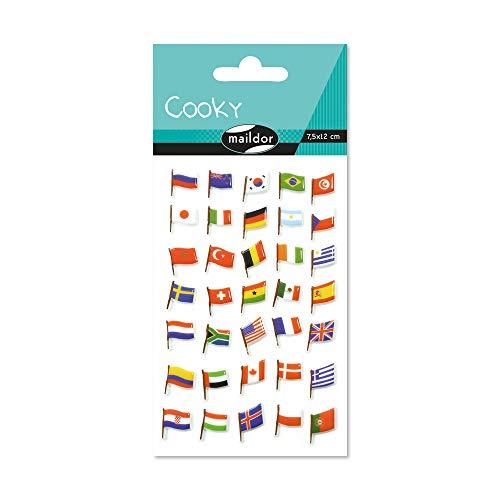 Maildor CY065O Packung mit Stickers Cooky 3D (1 Bogen, 7,5 x 12 cm, ideal zum Dekorieren, Sammeln oder Verschenken, Flaggen) 1 Pack