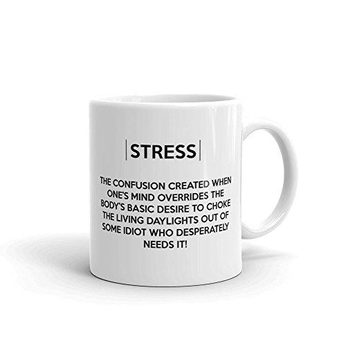 Tasse en céramique Stress - Blanche - 312 grammes.