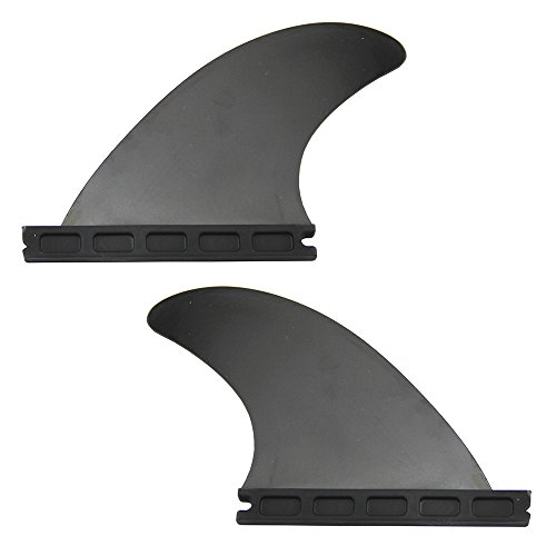Mangobuy Future - Juego de aletas para tabla de surf (2 aletas con base Futures GL Fin Longboard (negro, 3/4 pulgadas)