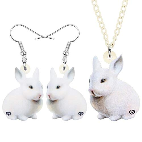 ZWwei Acrylic Easter White Bunny Jewelry Sets Big Lovely Animal Earrings Necklace For Women Girl Kid Gift Accessory (Color : White)