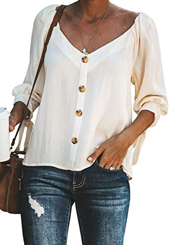FIYOTE Damen Hemd Lose Langarmshirt Knopf Top Tunika Oberteile Hemd, 5-weiß, L