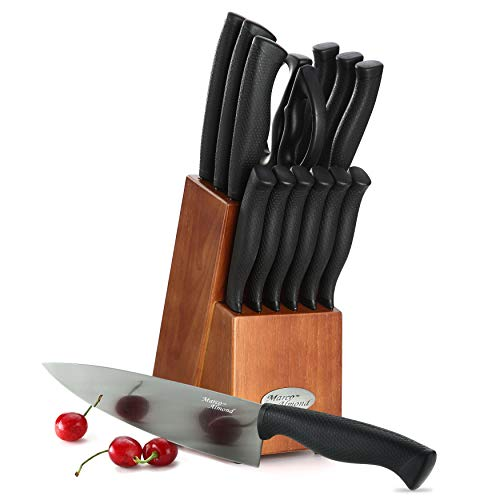 Marco Almond KYA30 Black Titanium Knife Set, Kitchen Cutlery Knives Set with Wooden Block, Black Titanium Coating, Chef Quality, Safety Perfect For Home & Pro Use, Best Gift, 14 Pieces Walnut Block