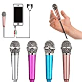 Mini Microphone,Singing Mic Equipment,Beautiful Vocal Quality,Mini Type Space Saving,Metal Frothing Process,3.5mm Audio Connector,Suitable for Laptop, iPhone, Android Phone (Golden)