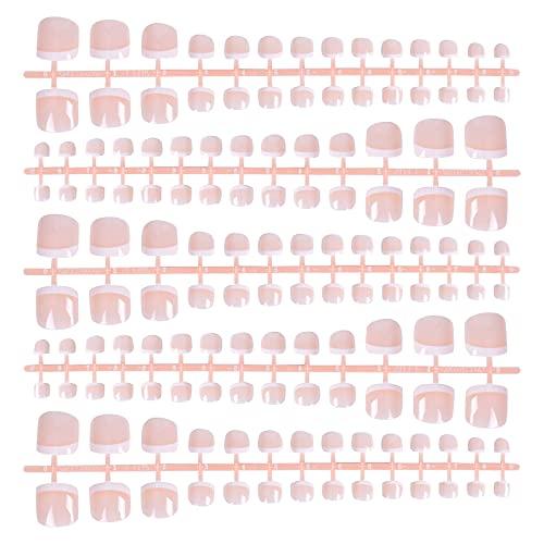 140 Stück Fußnägel Tips, Künstliche Falsche Nägel zum Aufkleben, Französisch Fussnägel Full Cover Nagelspitzen, Natürliche Zehennägel Tipps für Frauen Mädchen DIY...