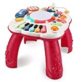 THISMY Learn and Groove Musical Table for Baby Toys 6 to 12 Months, Activity Table for 1 2 3 Years Old, 11.8×11.8×12.2 Inches (Red)