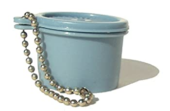 Tupperware  1  Mini Servalier Canister Keychain Vintage Country Blue
