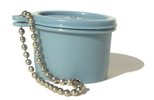 Tupperware (1) Mini Servalier Canister Keychain Vintage Country Blue