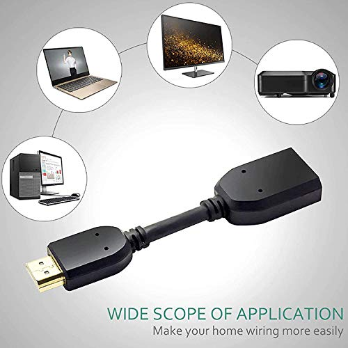 Lapster High Speed HDMI Male to Female Swivel Adapter HDMI Extension Cable for Google Chrome Cast -10cm (Black)